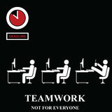 Teamwork is not for everyone. In the workplace isolated on black background Stock Photography