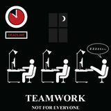 Teamwork is not for everyone. In the workplace isolated on black background Stock Images