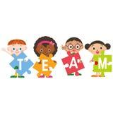 Teamwork och barn Arkivfoto