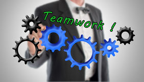 Teamwork- och bidragbegrepp Fotografering för Bildbyråer