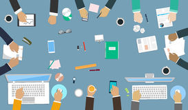Teamwork for office desk. Interaction hands in the work. Business strategy, new  idea of company, financial strategy, development of new projects Stock Image