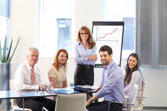 Teamwork at office. Executive businesswoman presenting her idea at business meeting. Teamwork Stock Photos