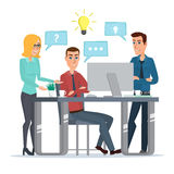 Teamwork office idea Business People Meeting Discussing Office. Desk Businesspeople Working Flat Vector Illustration isolated on white background in flat style stock illustration