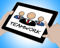 Teamwork Online Means Together Web And Internet Royalty Free Stock Photos