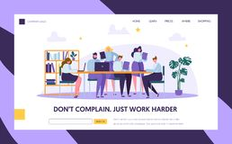 Teamwork in Openspace Office Landing Page Template. Corporate Business Team People Working by Laptops at Desk. Coworking. Space with Man for Website or Web Page stock illustration