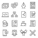 Teamwork Outline Vector Icon Set. Included presentation, comment, coffee break, beer and m. Simple Set of Jewellry Related Vector Line Icons. Contains such Icons vector illustration