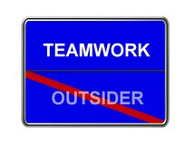 Teamwork and outsider sign Stock Photos