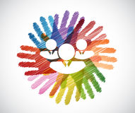 Teamwork over diversity hands circle Stock Photography
