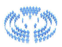 Teamwork over white. 3d image people teams with directors in five sectors (see more in my portfolio Stock Photos