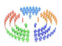 Teamwork over white. 3d image people teams with directors in five sectors Royalty Free Stock Images
