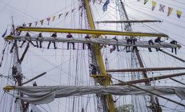 Teamwork på skeppet Arkivfoton