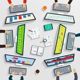 Teamwork på tabellen, affärsstrategi, statistik, rengöringsdukanalytics vektor illustrationer