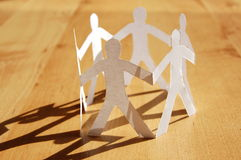 Teamwork of paper man Stock Photography