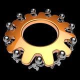 Teamwork partnership gearwheel men characters gear wheel Stock Photo