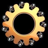 Teamwork partnership gearwheel men characters gear wheel Stock Photography