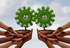 Teamwork Partnership Group Concept. As a team of hands holding a tree shaped as a gear or cog with 3D illustration elements as a business connected Royalty Free Stock Photo