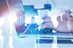 Teamwork and partnership, hi tech concept royalty free stock photos