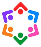 Teamwork people connected together logo Stock Photo