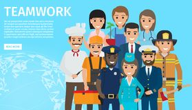 Teamwork of People with Different Profession. Handy plumber, african policeman, firefighter with axe, doctor, businessman, gardener, captain in uniform, chef and Stock Photos