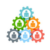 Teamwork people gear triangle logo Royalty Free Stock Photo
