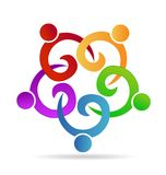 Teamwork people holding hands in business, meeting,party  or unity children concept symbols vector icons. Teamwork people holding hands in business, meeting Royalty Free Stock Photo