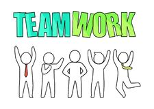 Teamwork and People Icon on Vector Illustration. Teamwork and people silhouette icons, happy male wearing ties, standing in different poses, below the headline Stock Photography