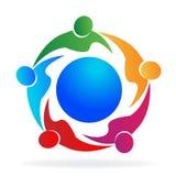 Teamwork people logo. Teamwork people around world doing business vector image logo Stock Photos