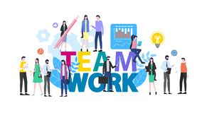 Teamwork Cartoon People Man Woman Office Worker. Teamwork People Man Woman Office Worker Vector Illustration. Male Female Employee Cartoon Character Business vector illustration