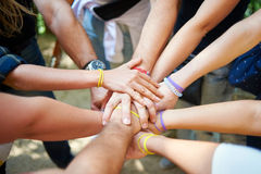 Teamwork. People put a hand in the center, in a sign of team spirit Stock Image