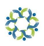 Teamwork people supportive hands together vector logo. Design illustration royalty free illustration