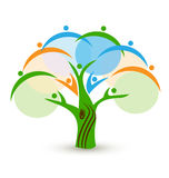 Teamwork people in a tree logo Royalty Free Stock Photography