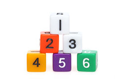 Teamwork. Plastic cubes with numbers on white background royalty free stock images