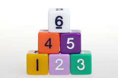 Teamwork. Plastic cubes with numbers on white background stock image