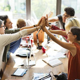 Teamwork Power Successful Meeting Workplace Concept Stock Photo