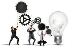 Free Teamwork Powering An Idea Royalty Free Stock Photos - 37098458