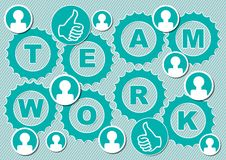Teamwork presentation slice with inscription Team work in gear shapes. Small people icons. Icon with thumb as symbol of success.  Royalty Free Stock Images