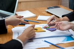 Teamwork process, business people working in the office stock images