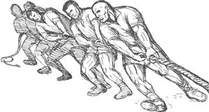 Teamwork pulling rope tug o war. Hand drawn illustration of a Team or group of men pulling rope tug of war Stock Photos