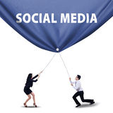 Teamwork pulling social media banner Stock Photography