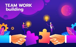 Teamwork puzzle building idea. Concept of collaboration, communication and solution vector illustration