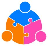 Teamwork puzzle people connected together logo. Vector illustration of teamwork puzzle people connected together logo  on white background Royalty Free Stock Images