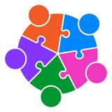Teamwork puzzle people connected together logo. Vector illustration of teamwork puzzle people connected together logo  on white background Royalty Free Stock Image