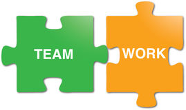 Teamwork puzzle pieces. Illustrated puzzle pieces with metaphor Stock Images