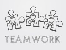 Teamwork and puzzle pieces with person Royalty Free Stock Photos