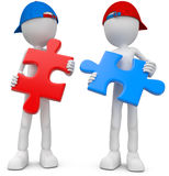 Teamwork Puzzle. Two guys with puzzle pieces Stock Illustration