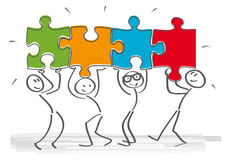 Teamwork puzzle. Work together – stick figures with puzzle pieces Stock Illustration