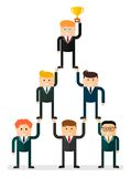 Teamwork pyramid and cup Royalty Free Stock Image