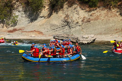 Teamwork Rafting Royalty Free Stock Photo