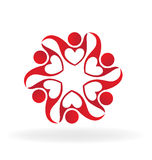 Teamwork red unity people logo Royalty Free Stock Images