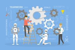 Teamwork with robots. Working with new technologies stock illustration